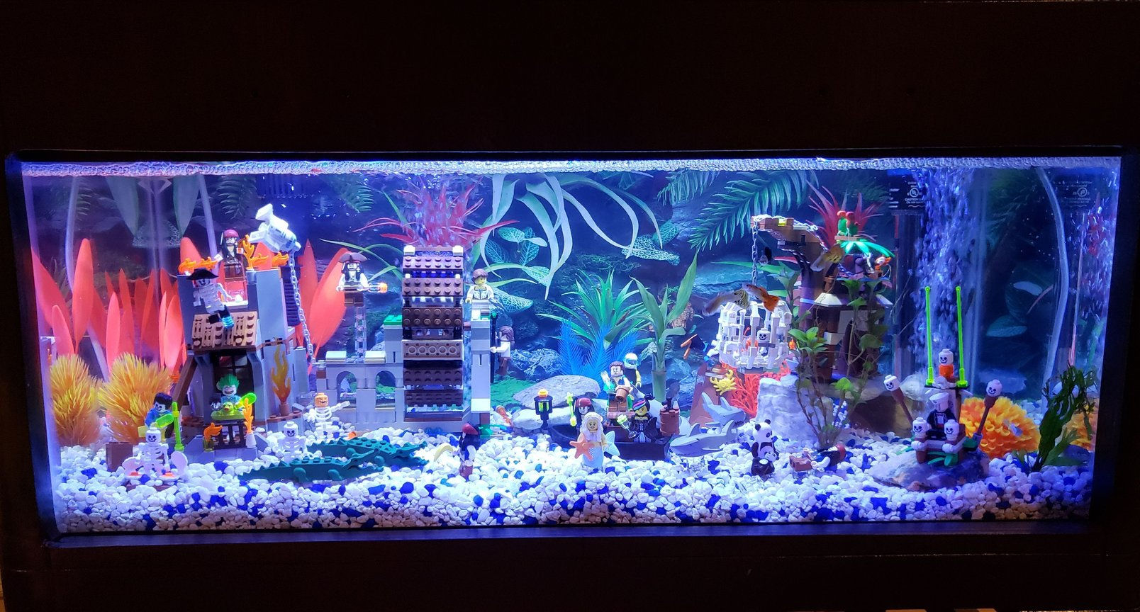 20 gallons freshwater fish tank (mostly fish and non-living decorations) - Lego tank